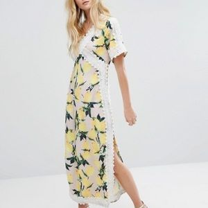 ASOS Aeryne All Over Lemon Print Maxi Dress